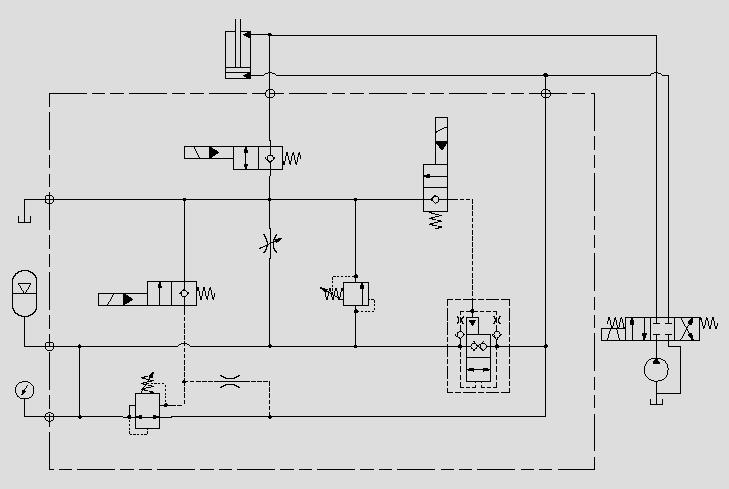 此原理图为保持设备在行进中铲斗的平稳,减少物料的撒落。