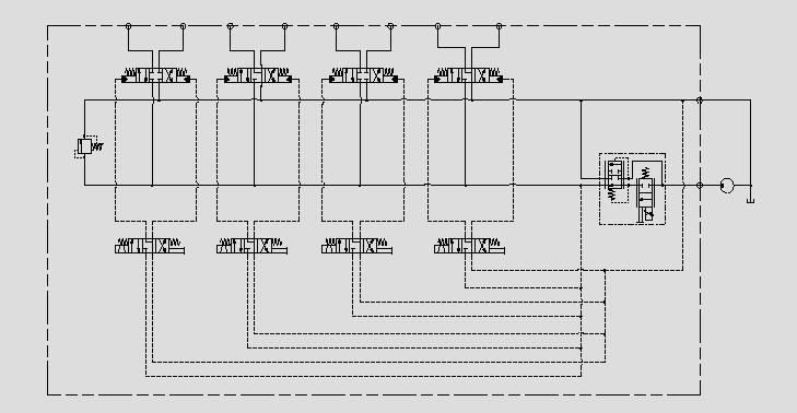 此原理图为用电比例减压溢流阀先导控制液控比例换向阀替换电比例多路阀。