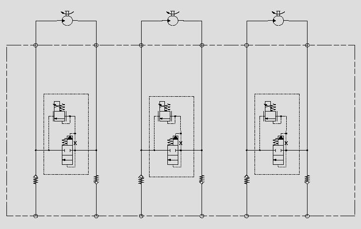 此原理图通过在大流量逻辑阀上的T-8A的插孔插入电比例压力阀,实现大流量马达的调速。