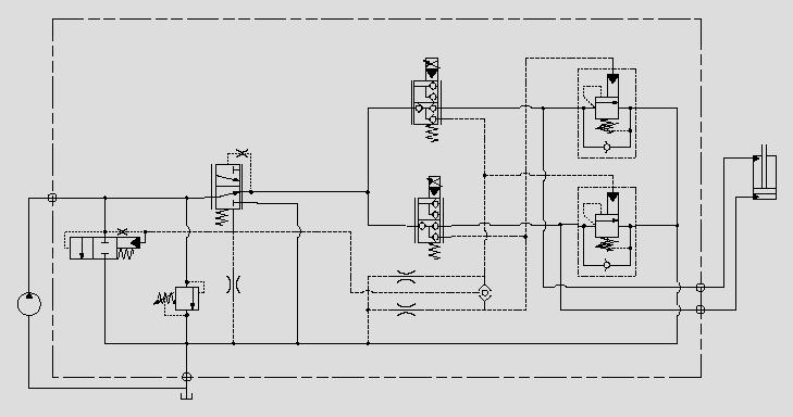 此液压原理图是根据压力变化切换系统工作与泄荷状态。