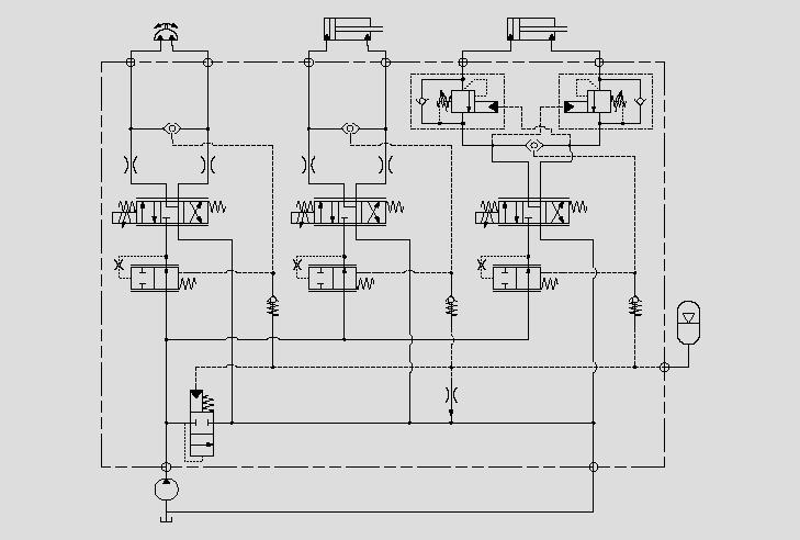 此原理图为应用于需要复合型补偿的电比例调平油缸水平控制。