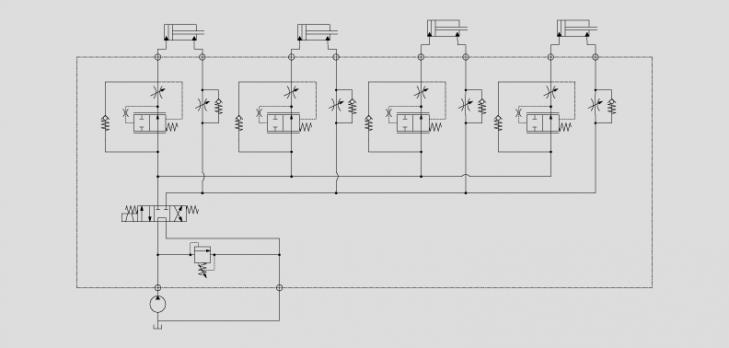 同时控制四个冲压油缸的换向 三位四通电磁换向阀控制油缸运动方向图片