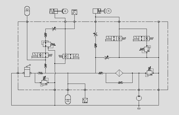此原理图为运用电磁阀、流量控制阀和压力阀控制制动器的动作速度、压力和启停。