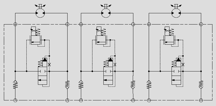 此原理图应用于大流量马达的比例压力控制。