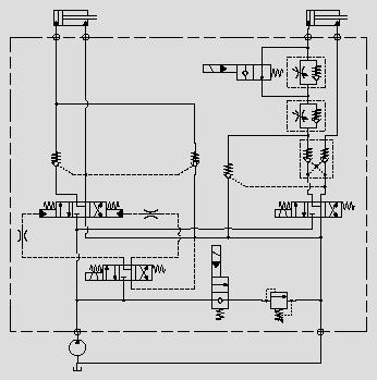 此原理图应用于主功能油缸的控制,电磁换向阀与液控换向阀组合成大流量三位四通换向阀。